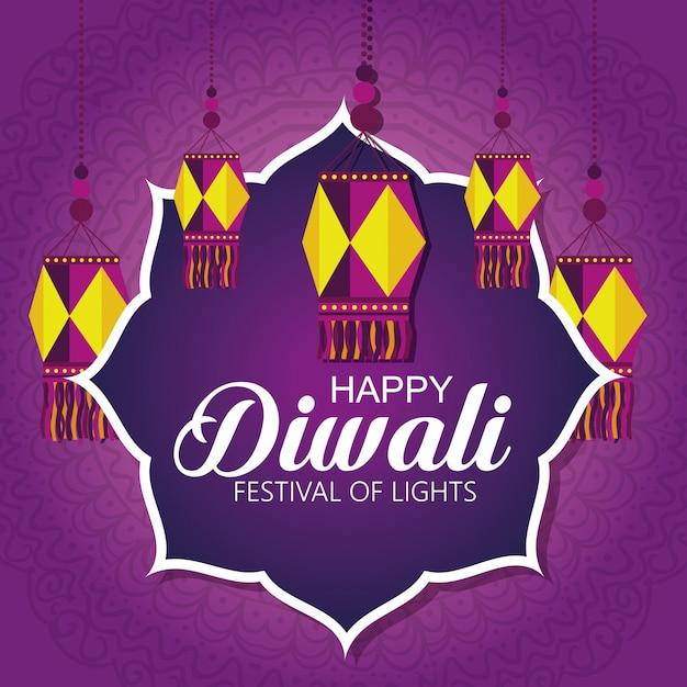 Happy diwali festival der lichter mit laternen Kostenlosen Vektoren