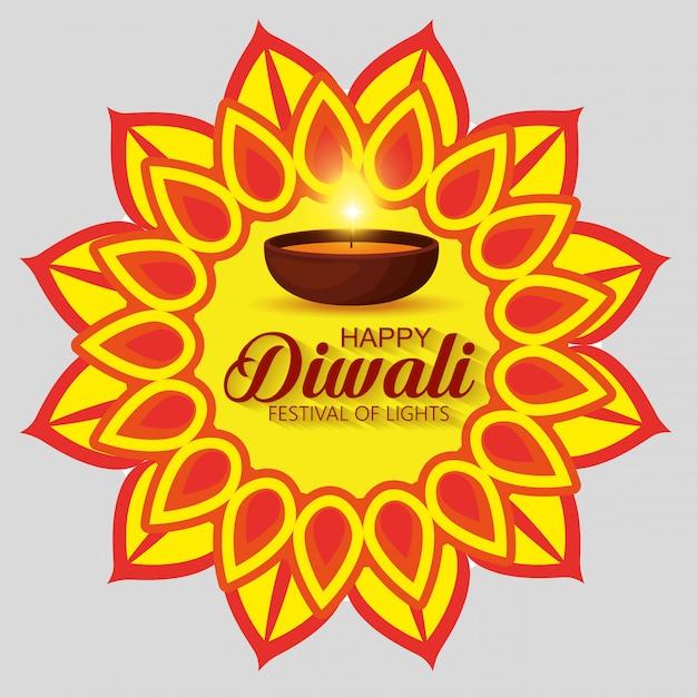 Happy diwali festival der lichter mit mandala Kostenlosen Vektoren