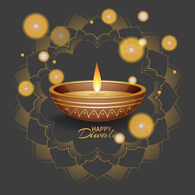 Happy diwali festival grußkarte Kostenlosen Vektoren