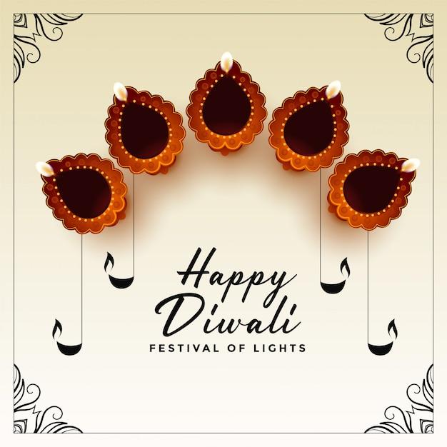 Happy diwali festival karte Kostenlosen Vektoren