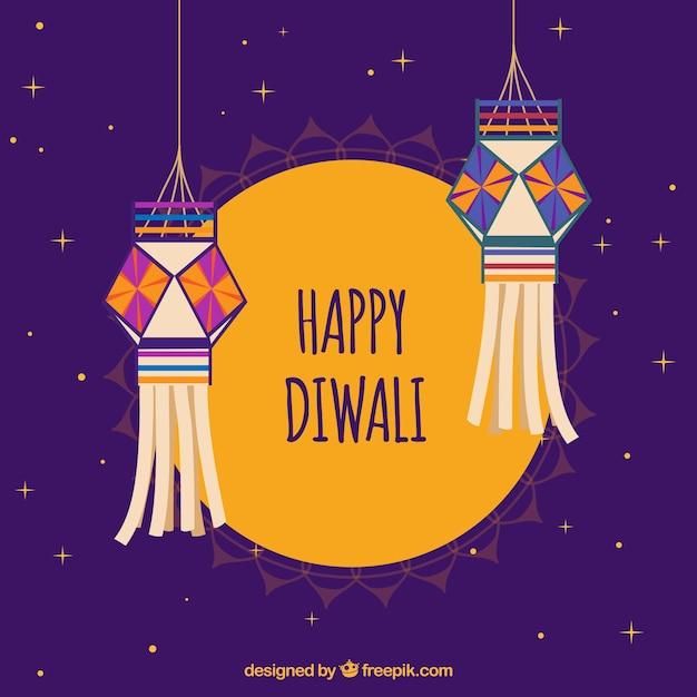 Happy diwali Hintergrund mit dekorativen Laternen Kostenlose Vektoren