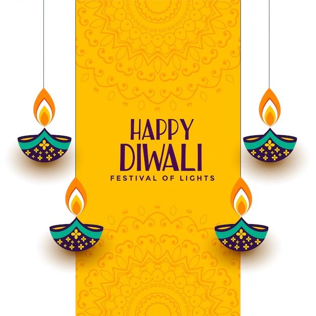 Happy diwali hintergrund Kostenlosen Vektoren