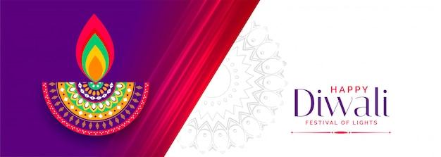 Happy diwali wünscht lebendige festival banner Kostenlosen Vektoren