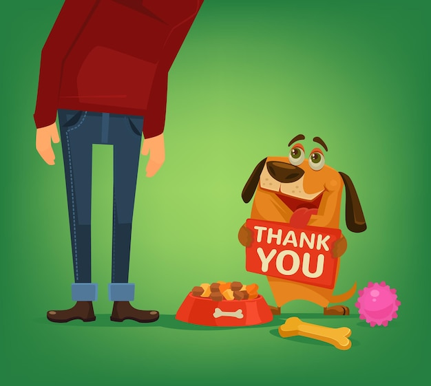 Happy dog charakter halten platte mit dankeswörtern an den besitzer Premium Vektoren