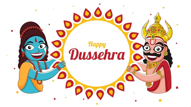 Happy dussehra celebration banner design mit fröhlichem gott rama und demon ravan charakter auf mandala rahmen weißen hintergrund. Premium Vektoren