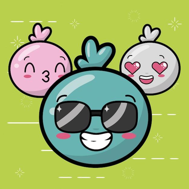 Happy emojis, kawaii süße gesichter Kostenlosen Vektoren