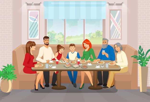 Happy family celebration und ein moment des lebens in der freizeit Premium Vektoren