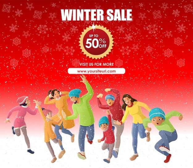 Happy family fun im winter sale angebot Premium Vektoren