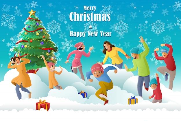 Happy family fun in wintersaison und weihnachten zu feiern Premium Vektoren