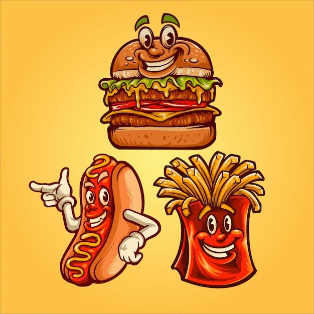 Happy fast-food-abbildung Premium Vektoren