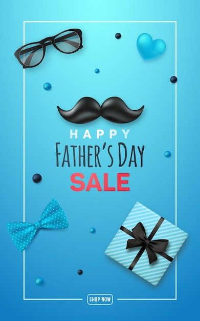 Happy fathers day sale banner. Premium Vektoren