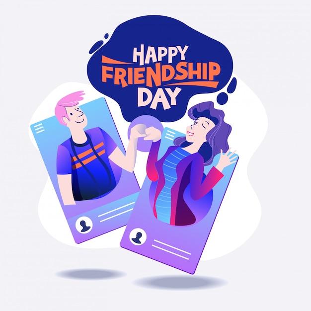 Happy friendship day, freunde aus sozialen netzwerken Premium Vektoren