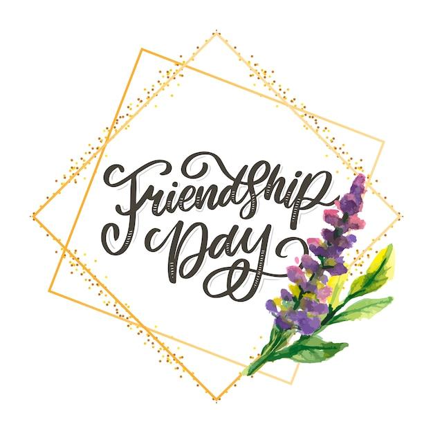 Happy friendship day schriftzug Premium Vektoren