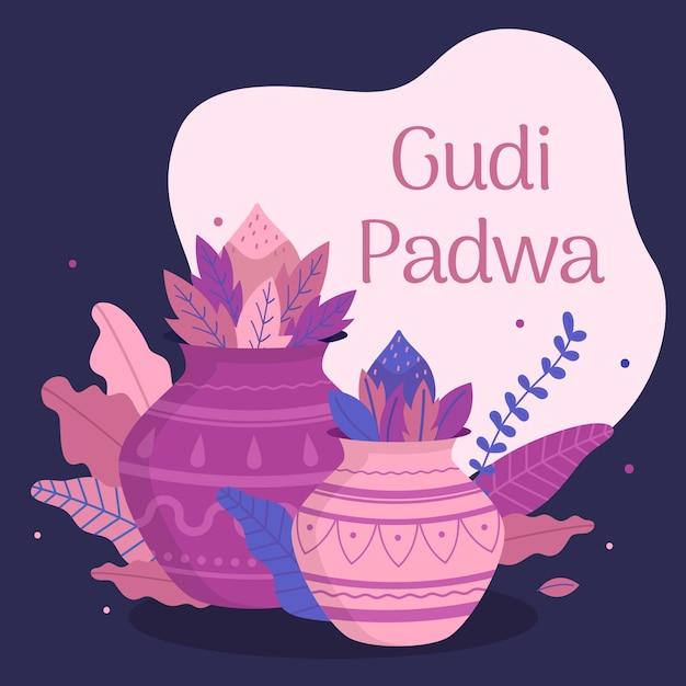 Happy gudi padwa event mit flachem design Kostenlosen Vektoren