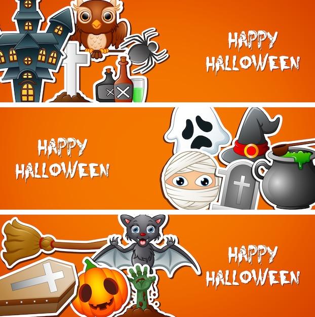 Happy halloween banner mit niedlichen aufklebern Premium Vektoren
