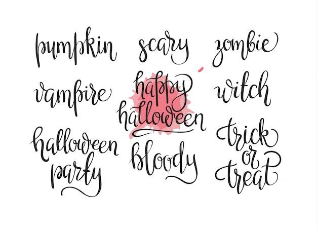 Happy halloween design collection - eine reihe von vintage-stil-designs von halloween day Kostenlosen Vektoren