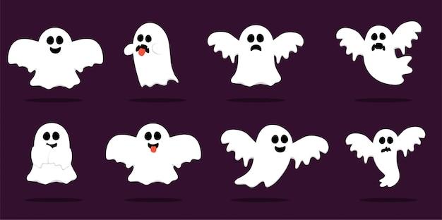 Happy halloween, ghost, scary weiße geister. gespenstische zeichentrickfigur. lächelndes gesicht, hände. Premium Vektoren