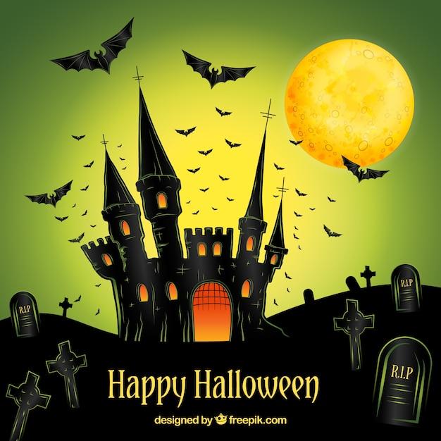 Super Happy Halloween Hintergrund mit Hand gezeichnet Schloss | Download @NA_11