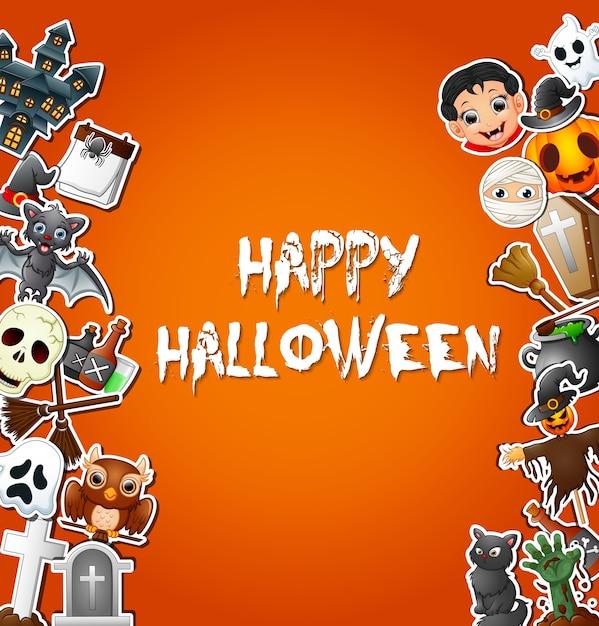 Happy halloween kartenfeiern und charakter aufkleber Premium Vektoren