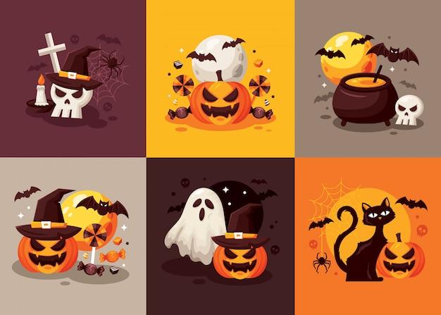 Happy halloween-kartensatz Premium Vektoren