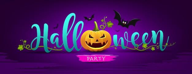 Happy halloween party nachricht kürbis Premium Vektoren