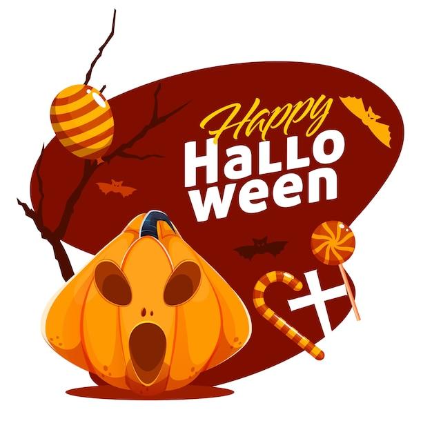 Happy halloween poster design mit gruseliger jack-o-laterne, süßigkeiten, ballon und fliegenden fledermäusen auf braunem und weißem hintergrund. Premium Vektoren