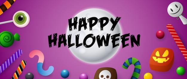 Happy halloween schriftzug auf mond mit süßigkeiten und bonbons Kostenlosen Vektoren