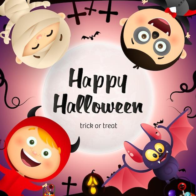 Happy halloween schriftzug, fledermaus, kinder in monster kostümen Kostenlosen Vektoren