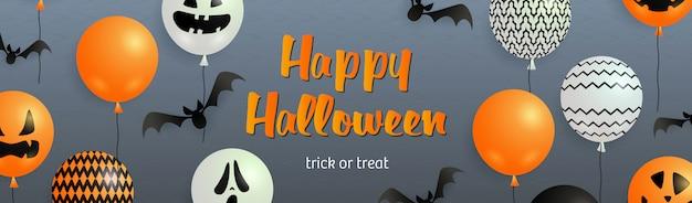 Happy halloween-schriftzug mit fledermäusen und geisterballons Kostenlosen Vektoren