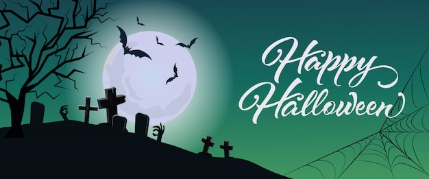 Happy halloween-schriftzug mit friedhof, mond und web Kostenlosen Vektoren