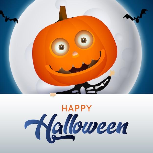 Happy halloween schriftzug mit kürbis charakter Kostenlosen Vektoren