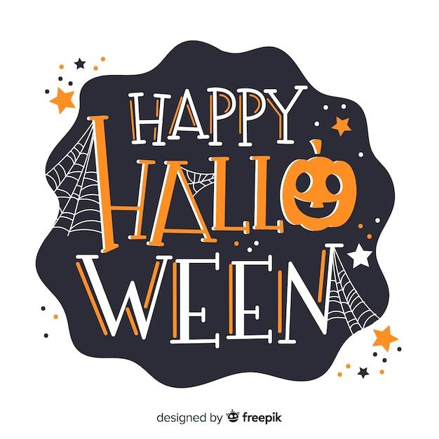 Happy halloween schriftzug mit kürbis Kostenlosen Vektoren