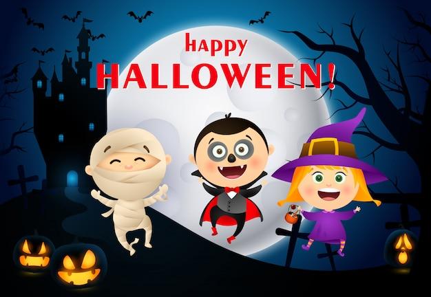 Happy halloween schriftzug mit schloss, mond und kinder in kostümen Kostenlosen Vektoren