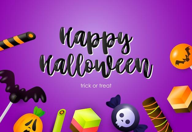 Happy halloween-schriftzug mit süßigkeiten und feiertagsattributen Kostenlosen Vektoren