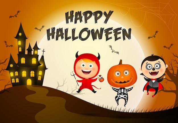 Happy halloween schriftzug, schloss und kinder in monster kostümen Kostenlosen Vektoren