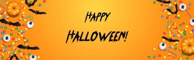 Happy halloween süßes oder saures banner vorlage mit gruseligen luftballons und halloween-elementen Premium Vektoren