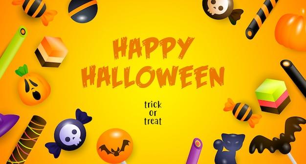 Happy halloween, süßes oder saures schriftzug, kuchen und süßigkeiten Kostenlosen Vektoren