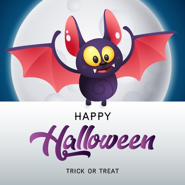 Happy halloween, trick or treat schriftzug mit fledermaus und mond Kostenlosen Vektoren