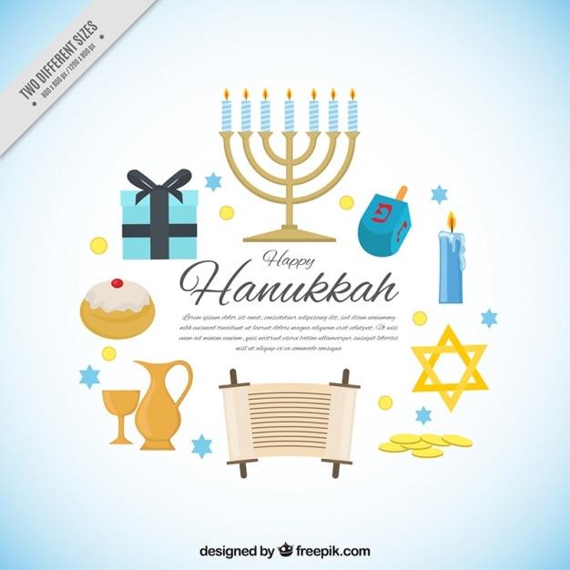 Happy hanukkah-hintergrund mit blauen details Kostenlosen Vektoren