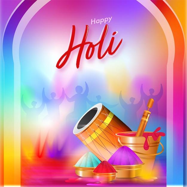 Happy holi celebration gradient hintergrund mit glänzendem dhol, wasserpistole, schalen und eimer voller farben. Premium Vektoren