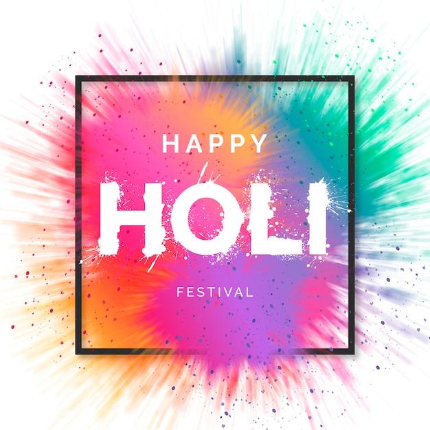 Happy holi festival hintergrund Kostenlosen Vektoren