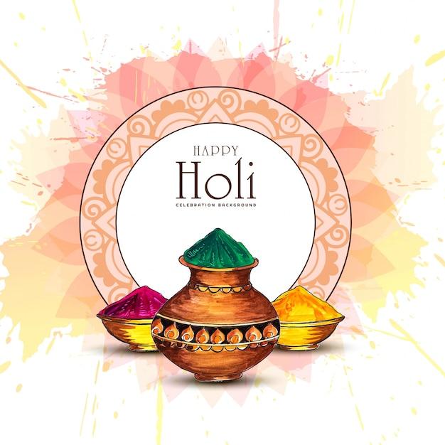 Happy holi indian spring festival der farben grußkarte Kostenlosen Vektoren