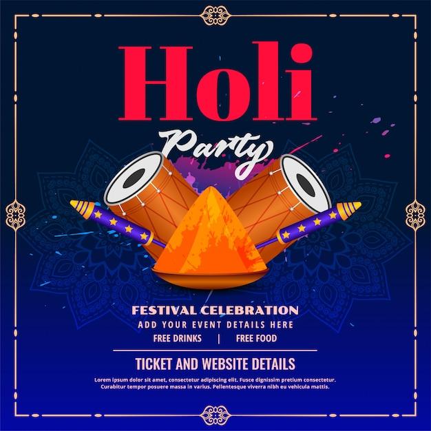 Happy holi party flyer mit pichkari und dhol Kostenlosen Vektoren