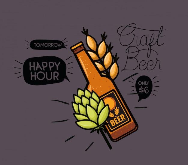 Happy hour bier etikett mit flasche und blätter Premium Vektoren