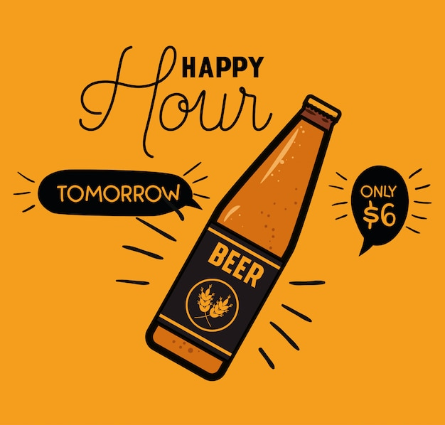 Happy hour bier etikett mit flasche Premium Vektoren