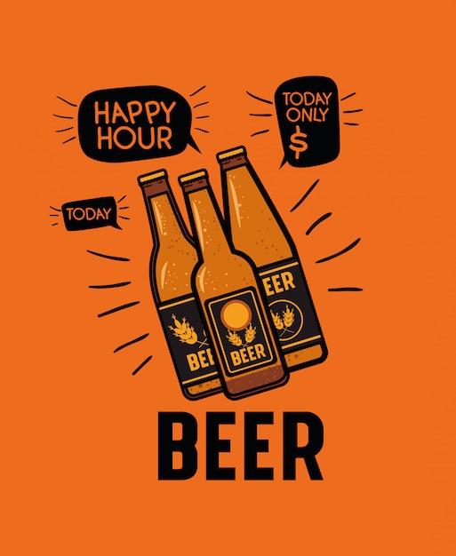 Happy hour bier etikett mit flaschen Premium Vektoren
