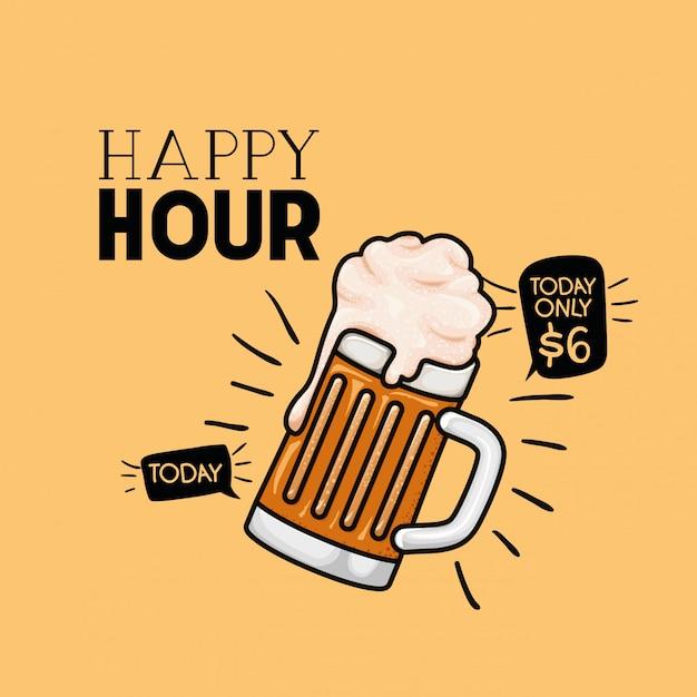 Happy hour bier etikett mit glas Premium Vektoren