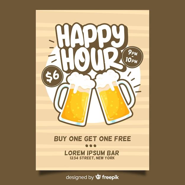Happy hour biere poster mit flachen design Kostenlosen Vektoren