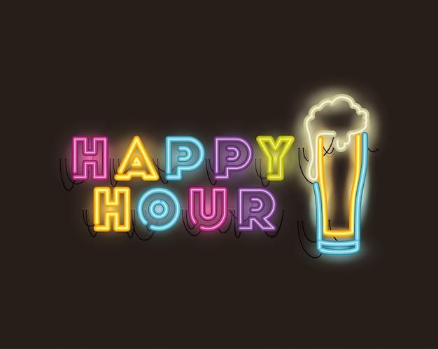 Happy hour mit neonlichtern aus bierglas Premium Vektoren
