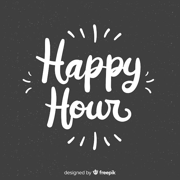 Happy hour schriftzug auf tafel Kostenlosen Vektoren